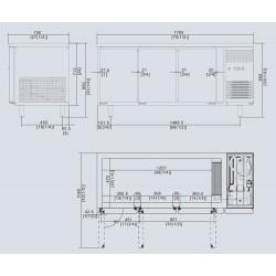 Tavolo Freezer 3 porte Atosa modello EPF3472: dimensioni 179.5 x 70 x 85h cm, capacità 420 l.
