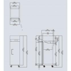 Frigorifero Atosa 1 porta con Display modello YBF9206: dimensioni 60 x 74 x 195h cm, capacità 450 l.