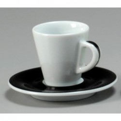 TAZZA CAFFE 8 CON PIATTO FAVORITA 30224 PENNELLATO NERO ANCAP- porcellana Medri - Teomar Shop