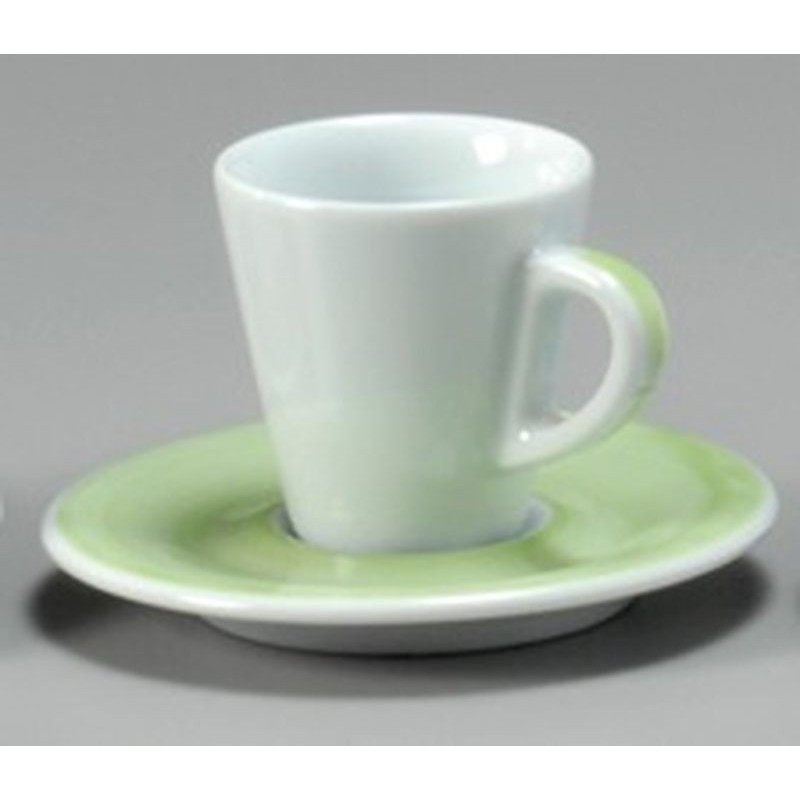 TAZZA CAFFE 8 CON PIATTO FAVORITA 30221 PENNELLATO VERDE ANCAP- porcellana Medri - Teomar Shop