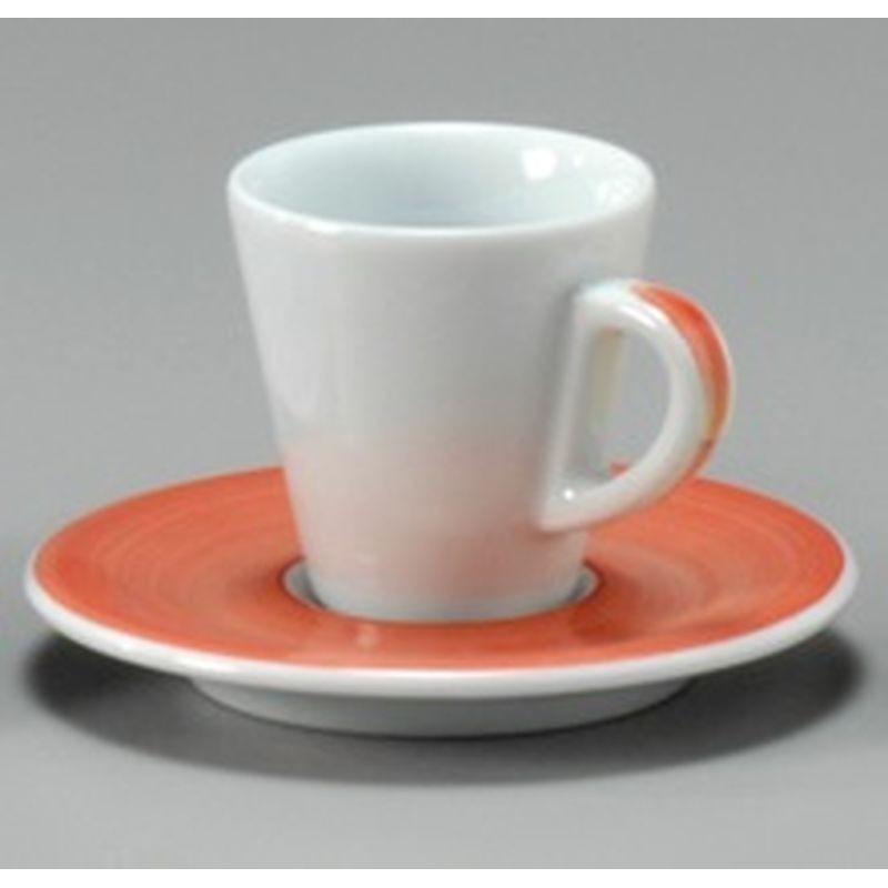TAZZA CAFFE 8 CON PIATTO FAVORITA 30223 PENNELLATO ROSSO ANCAP- porcellana Medri - Teomar Shop