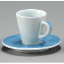 TAZZA CAFFE 8 CON PIATTO FAVORITA 30220 PENNELLATO AZZURRO ANCAP- porcellana Medri - Teomar Shop