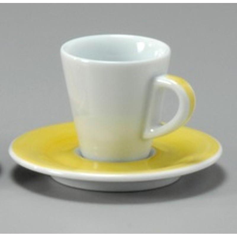 TAZZA CAFFE 8 CON PIATTO FAVORITA 30222 PENNELLATO GIALLO ANCAP - porcellana Medri - Teomar Shop