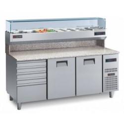 GEMM Tavolo refrigerato piano granito+Cassettiera+Vetrina refrigerata